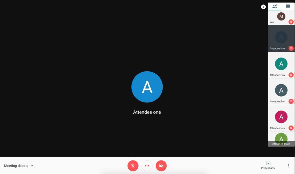 Google Meet UI on a 15.4-inchMacBook Pro
